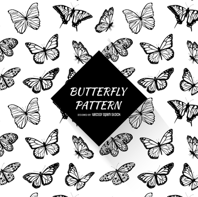Black and white butterfly pattern