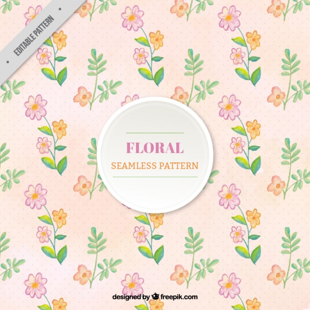 Pattern with flowers in pastel colors
